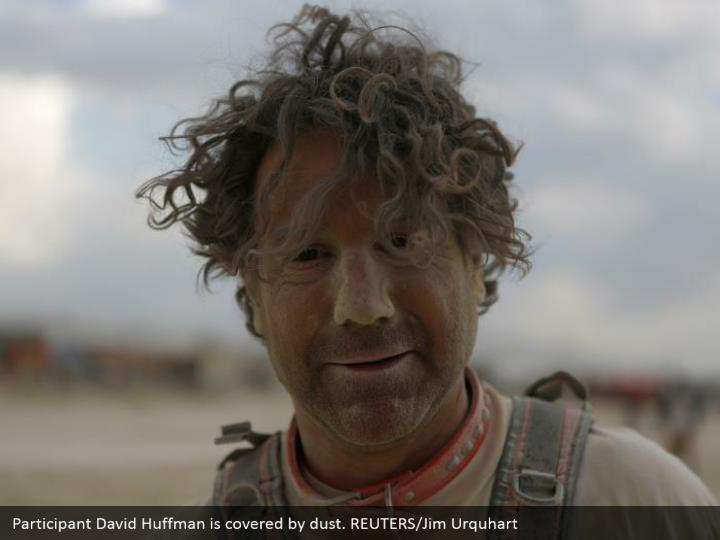Participant David Huffman is covered by dust. REUTERS/Jim Urquhart