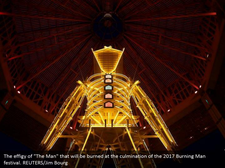 """The effigy of """"The Man"""" that will be burned at the culmination of the 2017 Burning Man festival. REUTERS/Jim Bourg"""