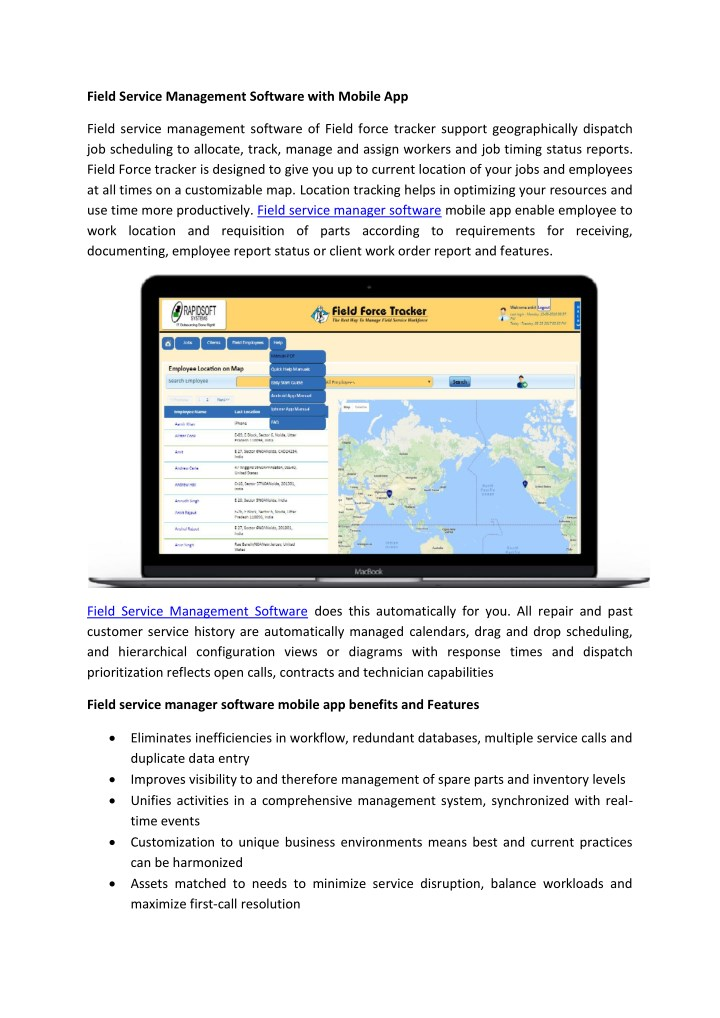 field service management software with mobile app n.