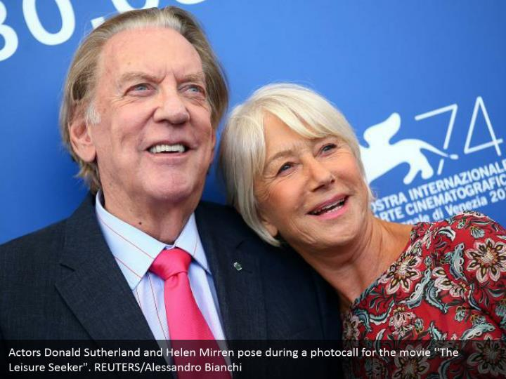 "Actors Donald Sutherland and Helen Mirren pose during a photocall for the movie ''The Leisure Seeker"". REUTERS/Alessandro Bianchi"