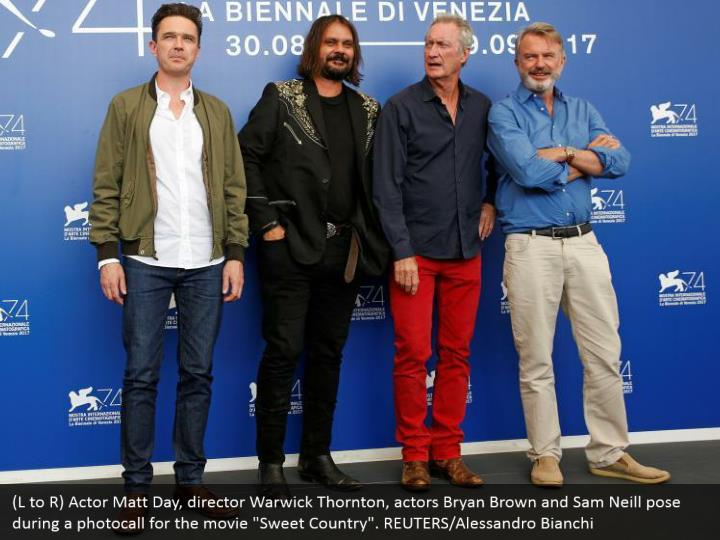 "(L to R) Actor Matt Day, director Warwick Thornton, actors Bryan Brown and Sam Neill pose during a photocall for the movie ""Sweet Country"". REUTERS/Alessandro Bianchi"