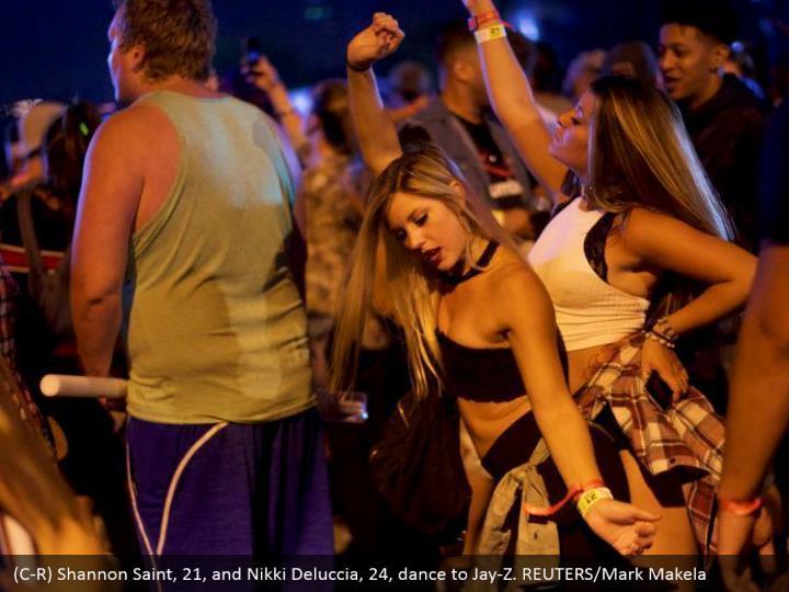 (C-R) Shannon Saint, 21, and Nikki Deluccia, 24, dance to Jay-Z. REUTERS/Mark Makela