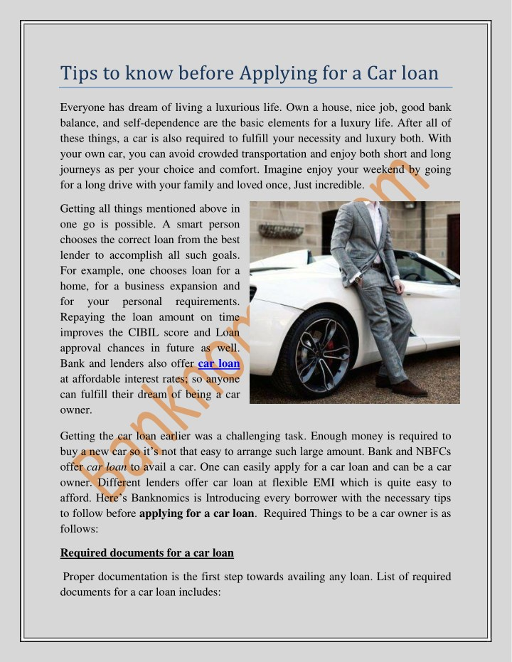 tips to know before applying for a car loan n.