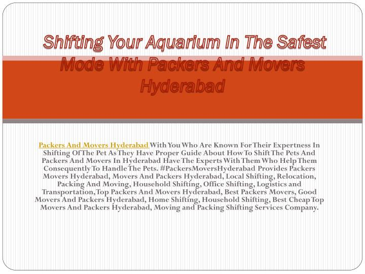 shifting your aquarium in the safest mode with packers and movers hyderabad n.