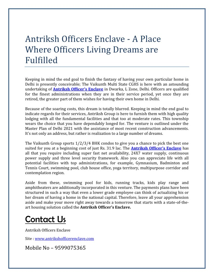 antriksh officers enclave a place where officers n.