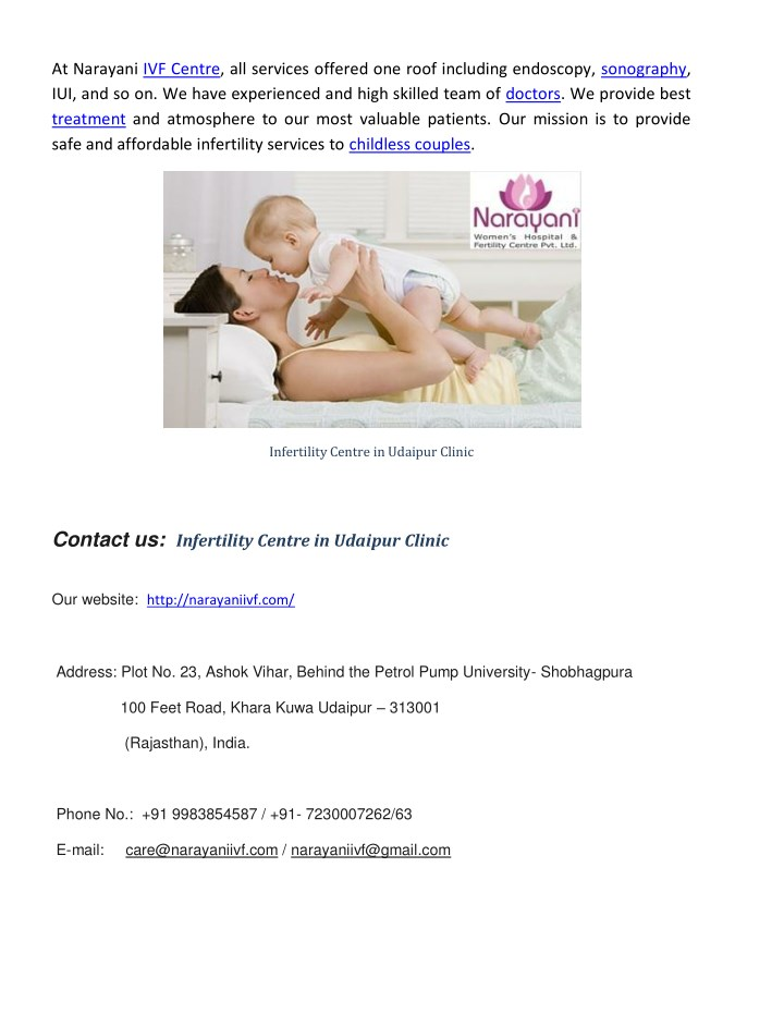 At narayani ivf centre all services offered