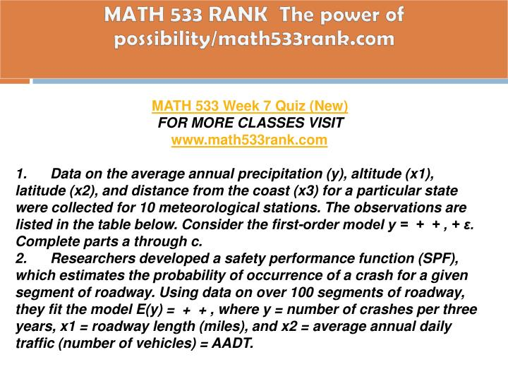math 533 part 3 Math 533 project - download as word doc (doc / docx), pdf file (pdf), text file (txt) or read online math 533 course project explore explore by interests.