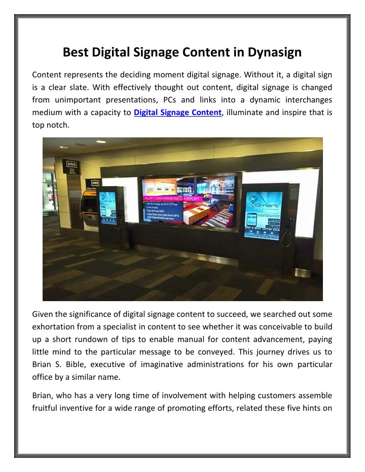 best digital signage content in dynasign n.