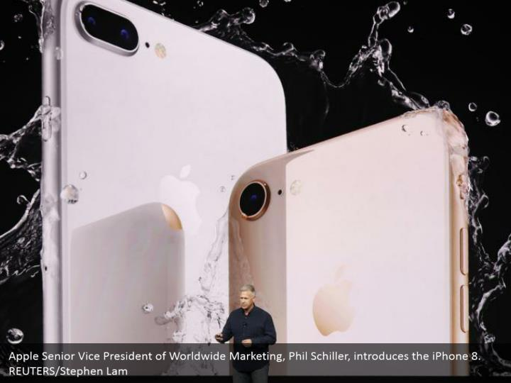 Apple Senior Vice President of Worldwide Marketing, Phil Schiller, introduces the iPhone 8. REUTERS/Stephen Lam