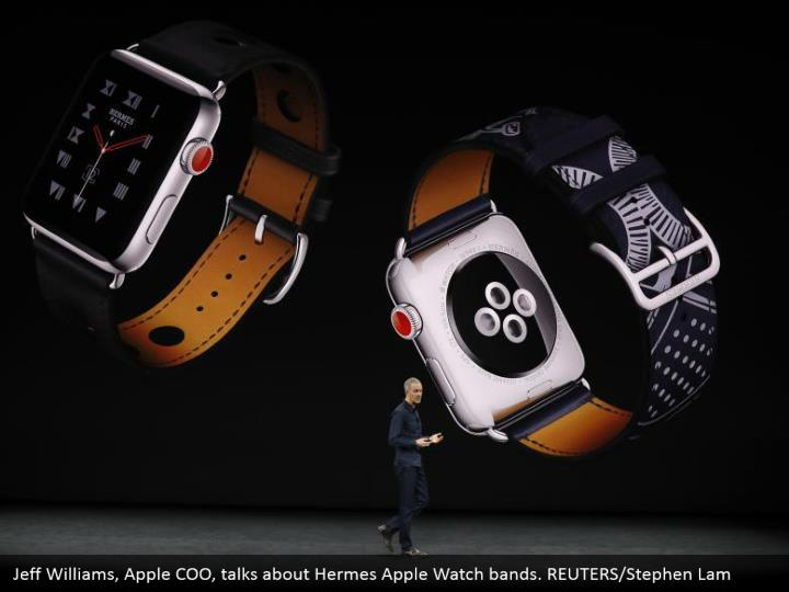 Jeff Williams, Apple COO, talks about Hermes Apple Watch bands. REUTERS/Stephen Lam