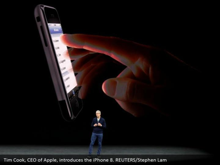 Tim Cook, CEO of Apple, introduces the iPhone 8. REUTERS/Stephen Lam