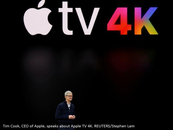 Tim Cook, CEO of Apple, speaks about Apple TV 4K. REUTERS/Stephen Lam