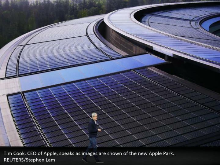 Tim Cook, CEO of Apple, speaks as images are shown of the new Apple Park. REUTERS/Stephen Lam
