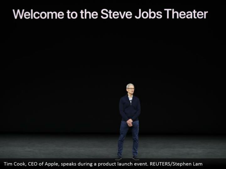 Tim Cook, CEO of Apple, speaks during a product launch event. REUTERS/Stephen Lam
