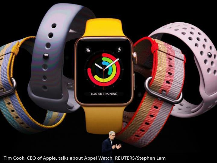 Tim Cook, CEO of Apple, talks about Appel Watch. REUTERS/Stephen Lam