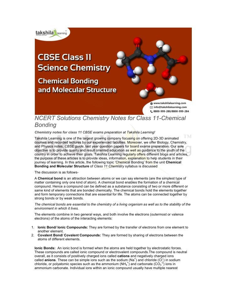 PPT - NCERT Solutions Chemistry notes for class 11-Chemical