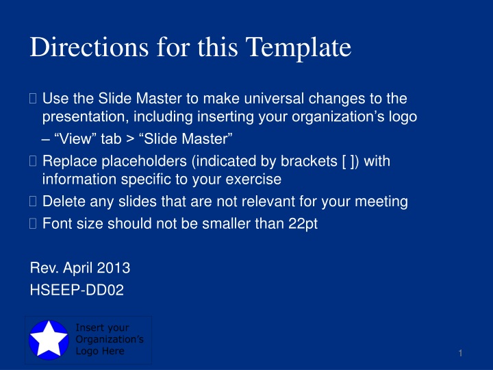 directions for this template n.