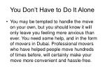 you don t have to do it alone