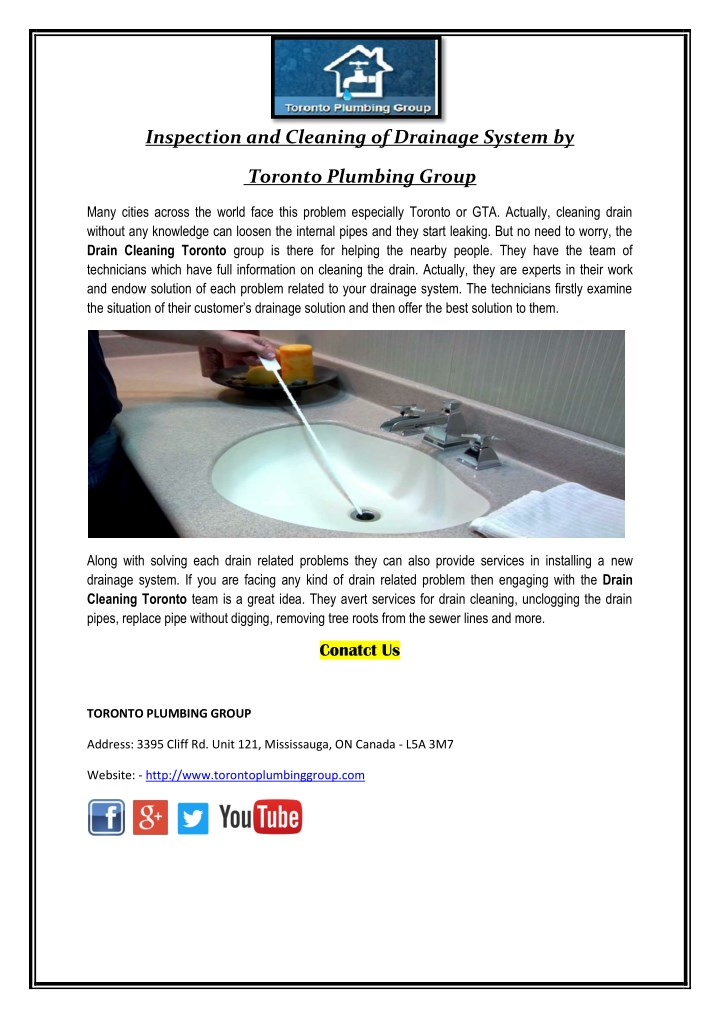 inspection and cleaning of drainage system by