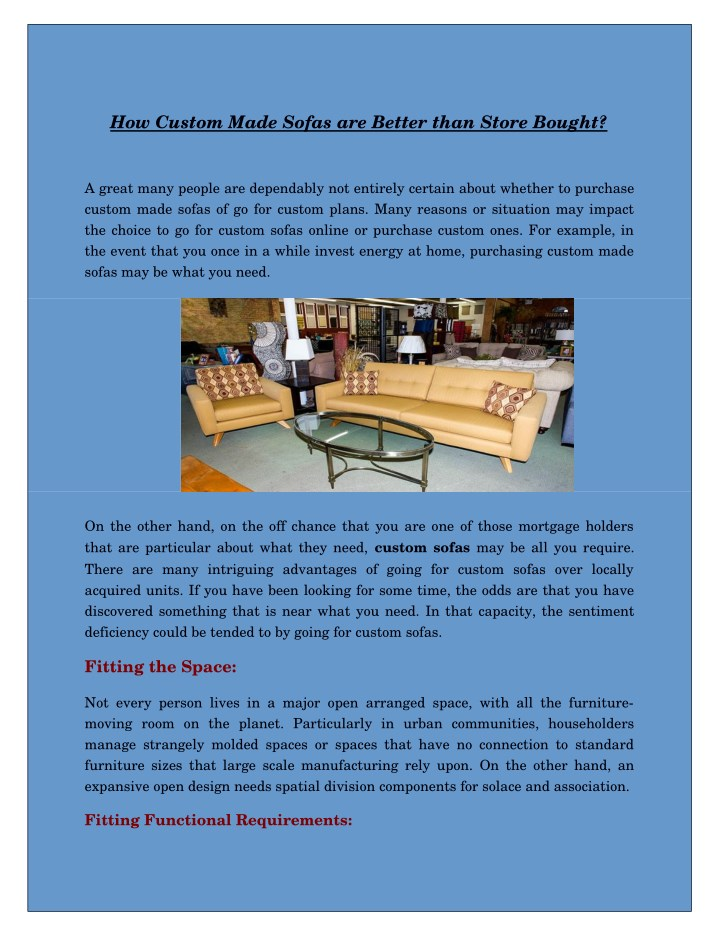 how custom made sofas are better than store bought n.