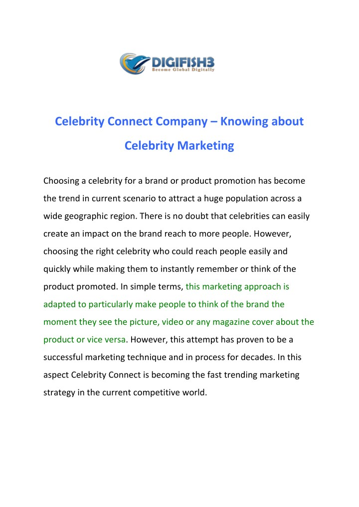 celebrity connect company knowing about n.
