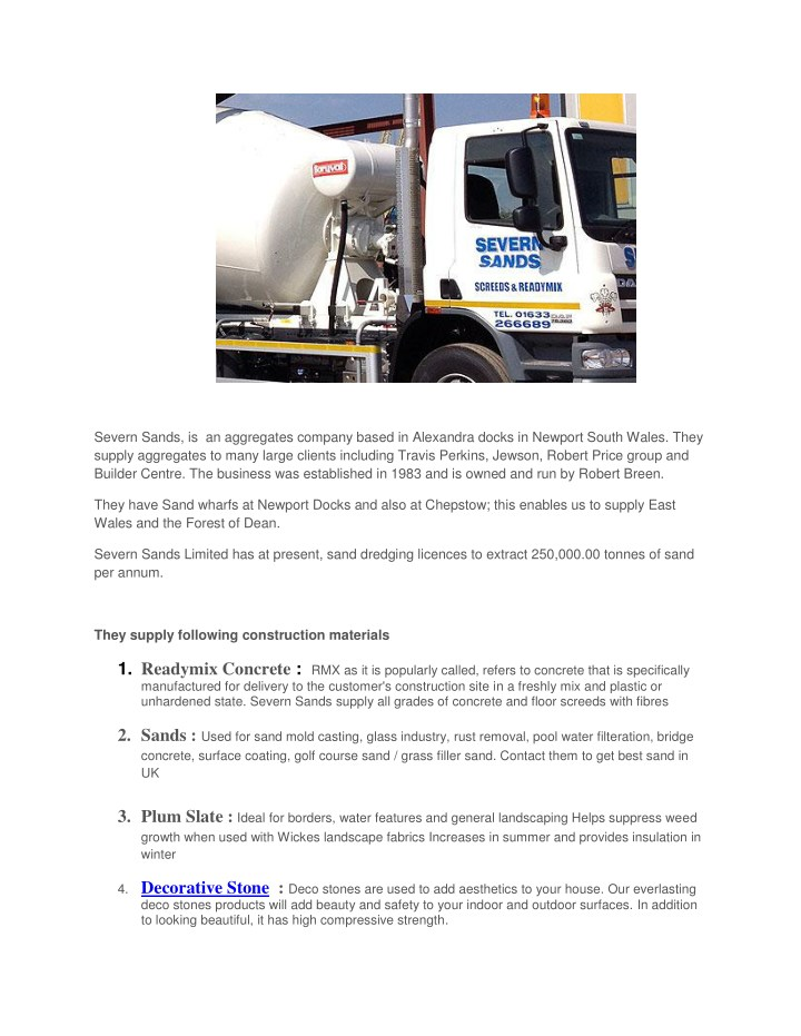 severn sands is an aggregates company based