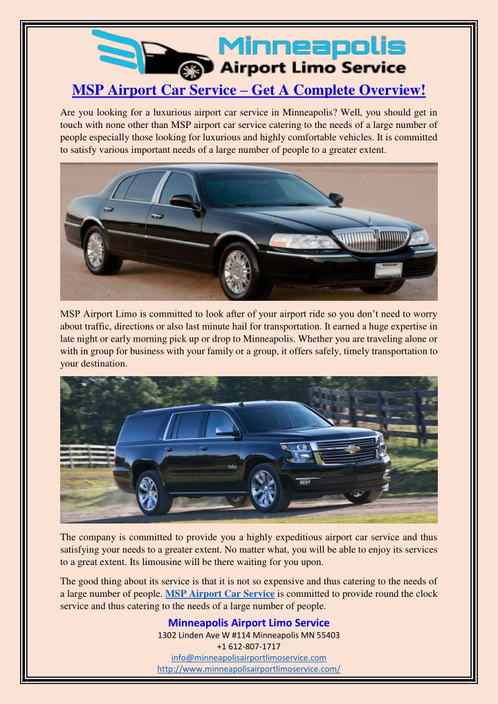msp airport car service get a complete overview n.