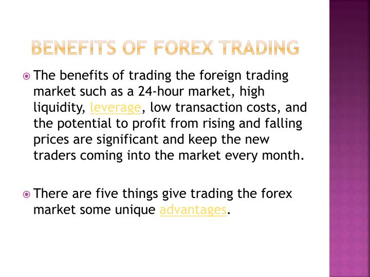 Forex benefits
