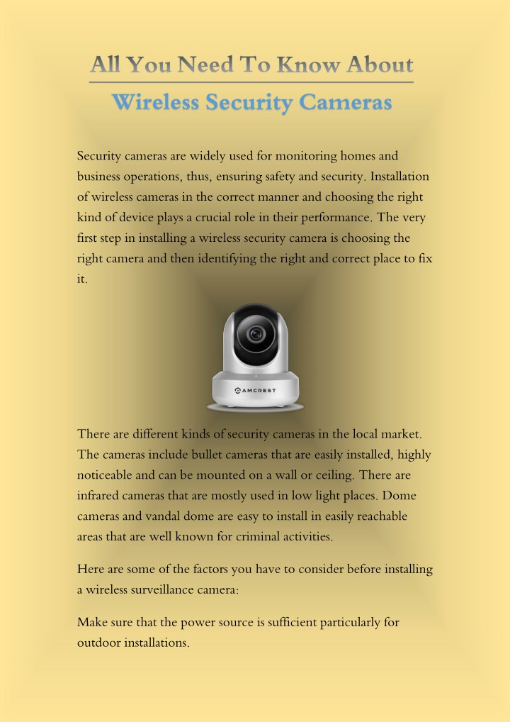 security cameras are widely used for monitoring n.