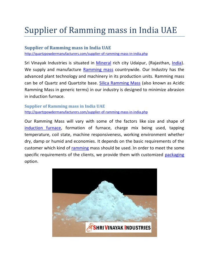 supplier of ramming mass in india uae n.