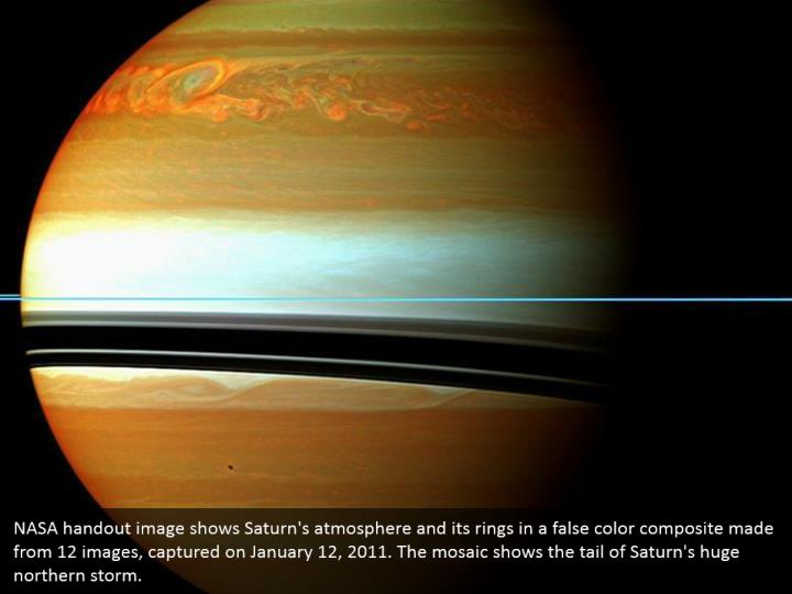 NASA handout image shows Saturn's atmosphere and its rings in a false color composite made from 12 images, captured on January 12, 2011. The mosaic shows the tail of Saturn's huge northern storm.