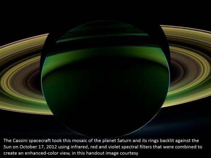 The Cassini spacecraft took this mosaic of the planet Saturn and its rings backlit against the Sun on October 17, 2012 using infrared, red and violet spectral filters that were combined to create an enhanced-color view, in this handout image courtesy