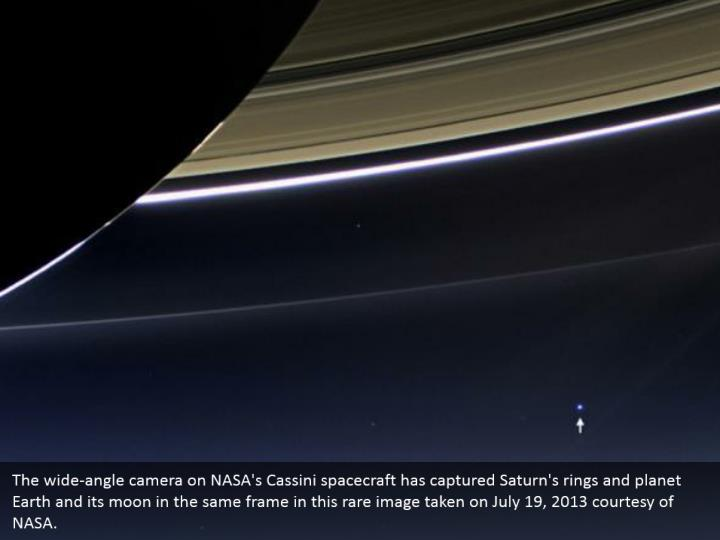 The wide-angle camera on NASA's Cassini spacecraft has captured Saturn's rings and planet Earth and its moon in the same frame in this rare image taken on July 19, 2013 courtesy of NASA.