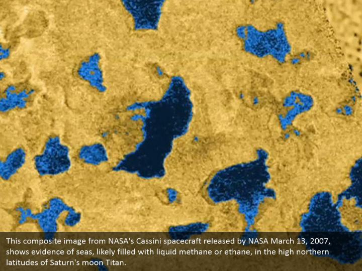 This composite image from NASA's Cassini spacecraft released by NASA March 13, 2007, shows evidence of seas, likely filled with liquid methane or ethane, in the high northern latitudes of Saturn's moon Titan.