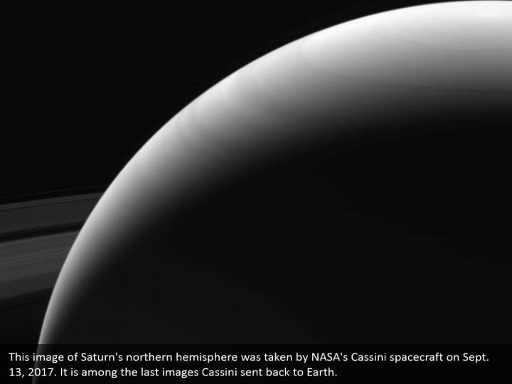 This image of Saturn's northern hemisphere was taken by NASA's Cassini spacecraft on Sept. 13, 2017. It is among the last images Cassini sent back to Earth.