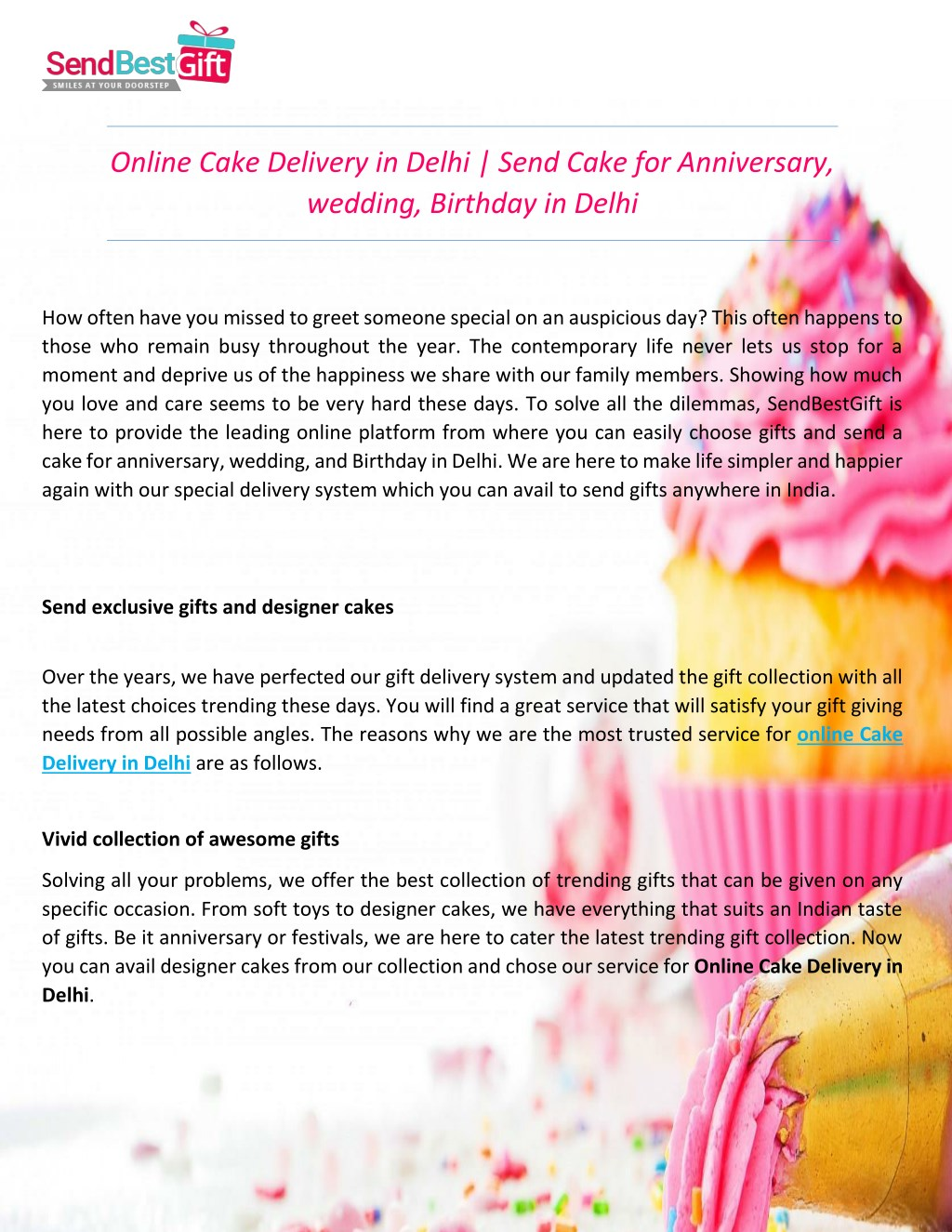 Online Cake Delivery In Delhi Send N