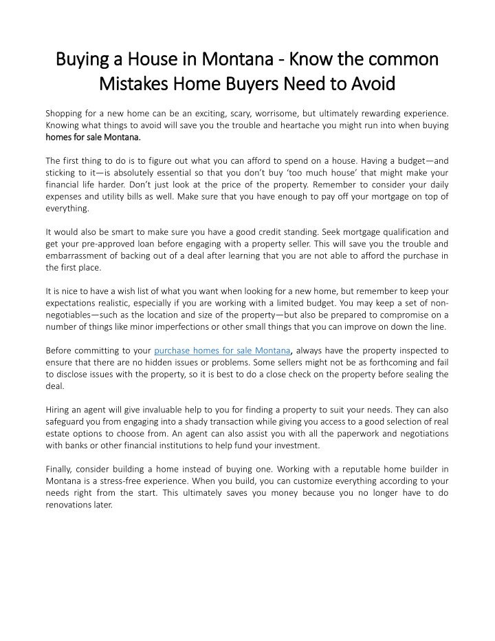 know the the common common mistakes home buyers n.