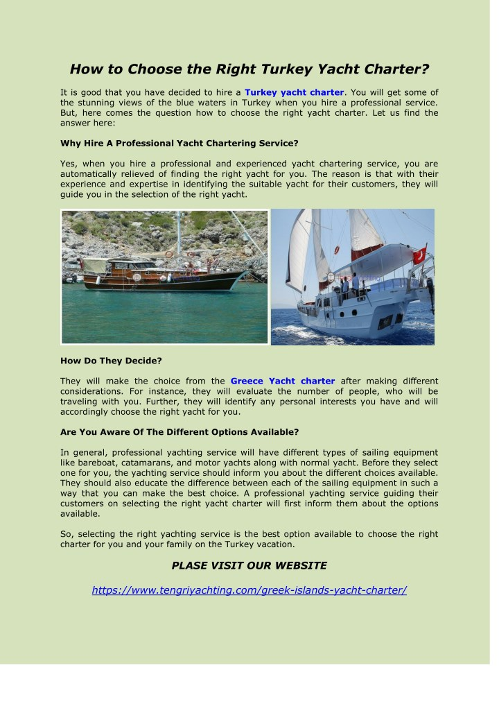how to choose the right turkey yacht charter n.