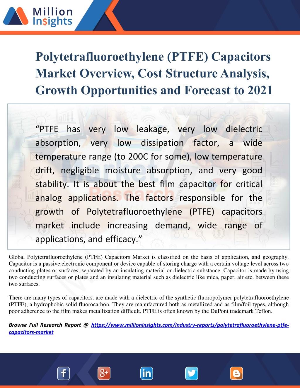 PPT - Polytetrafluoroethylene (PTFE) Capacitors Market Overview