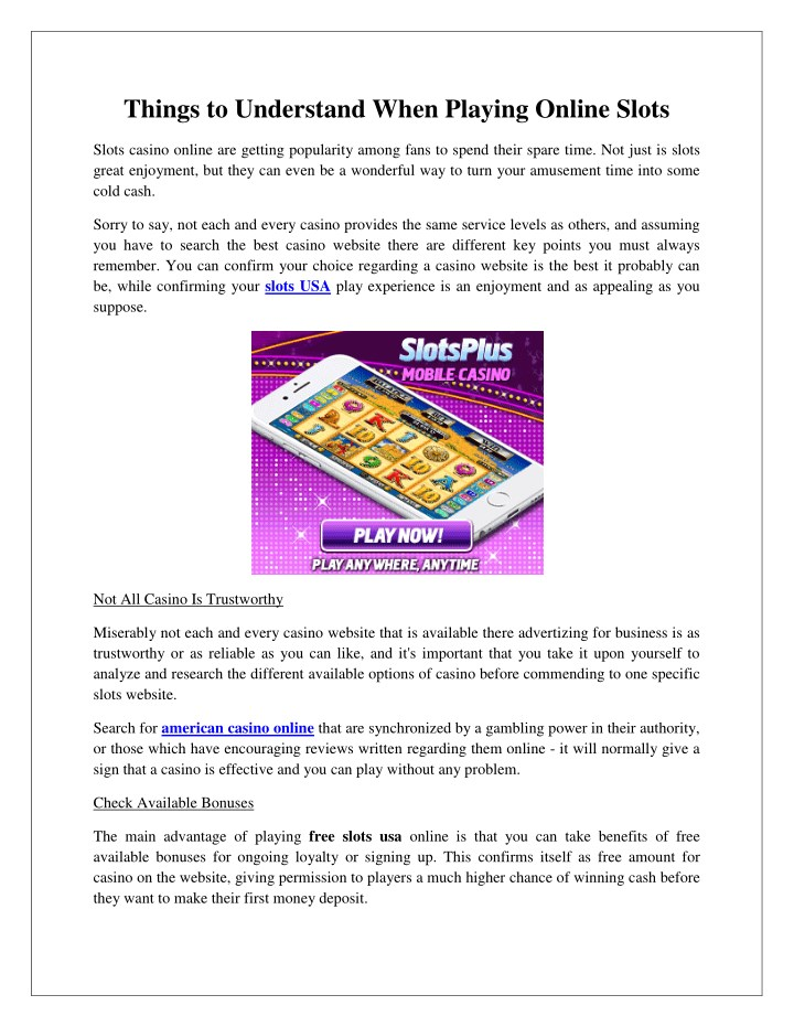 things to understand when playing online slots n.