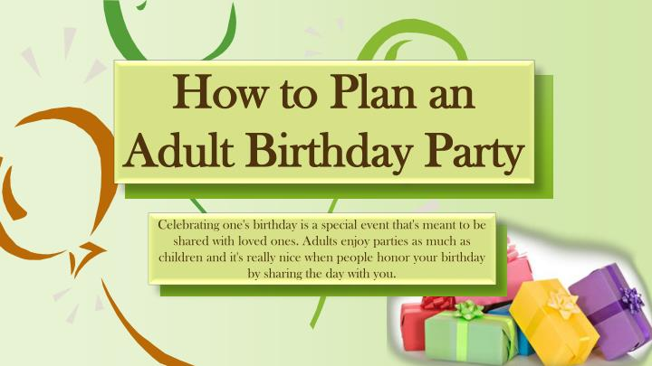 how to plan an adult birthday party n.