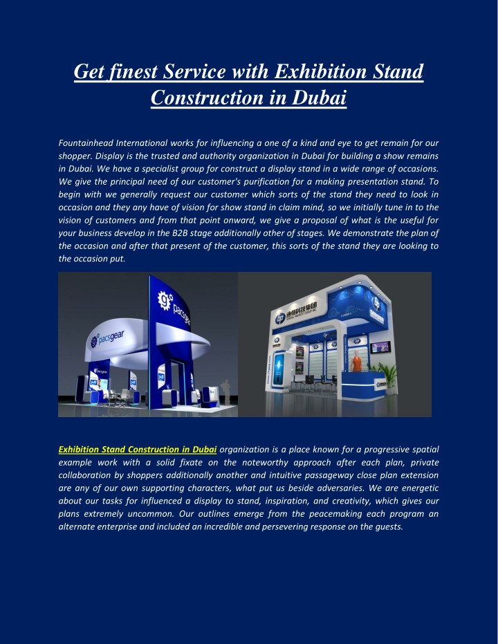 Get finest Service with Exhibition Stand Construction in Dubai
