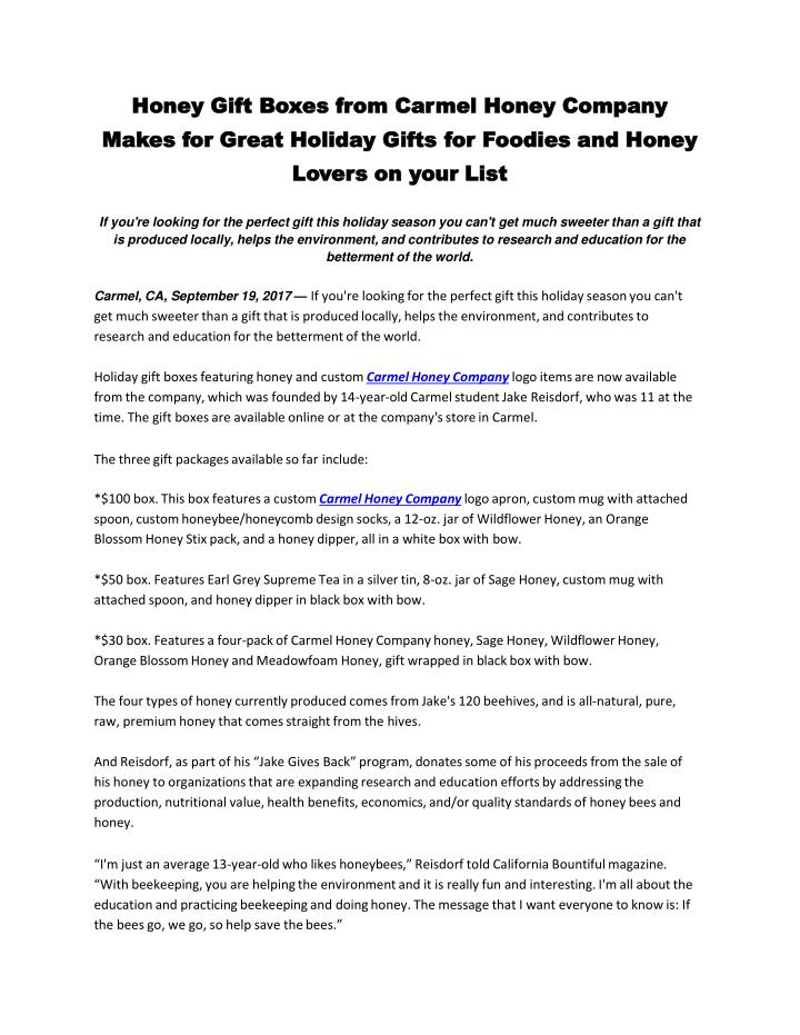 PPT - Honey Gift Boxes from Carmel Honey Company Makes for
