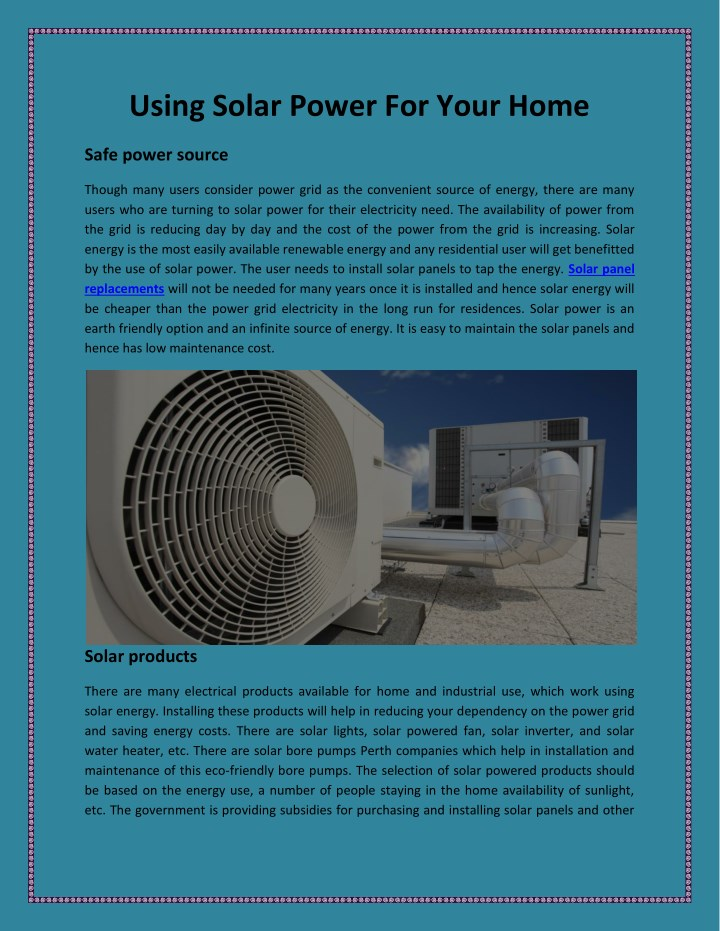 using solar power for your home n.