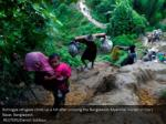 rohingya refugees climb up a hill after crossing
