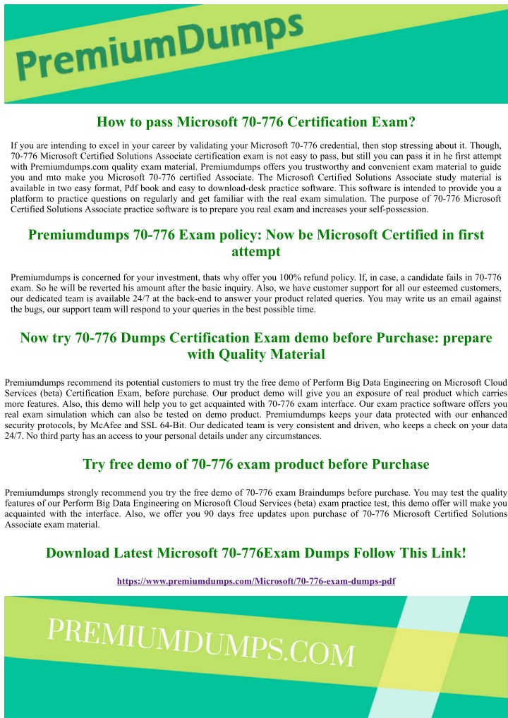 Ppt 70 776 Microsoft Certified Solutions Associate Exam Questions