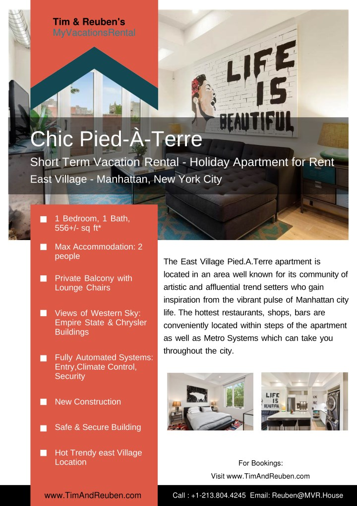 Chic Pied À Terre Short Term Vacation Rental Holiday Apartment For Rent East Village Manhattan New York City Point Ppt Presentation