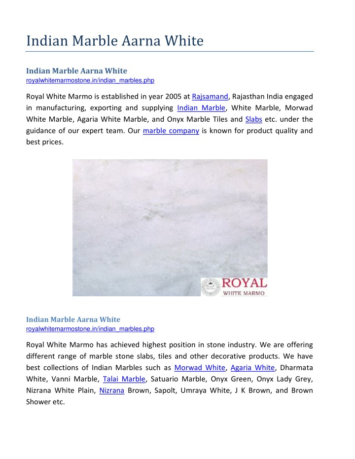 PPT - Indian Marble Aarna White PowerPoint Presentation - ID:7696816