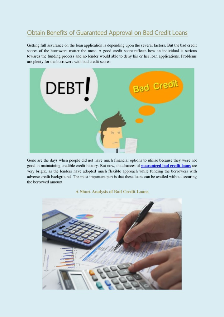 Loans For Really Bad Credit >> Ppt Guaranteed Bad Credit Loans Powerpoint Presentation