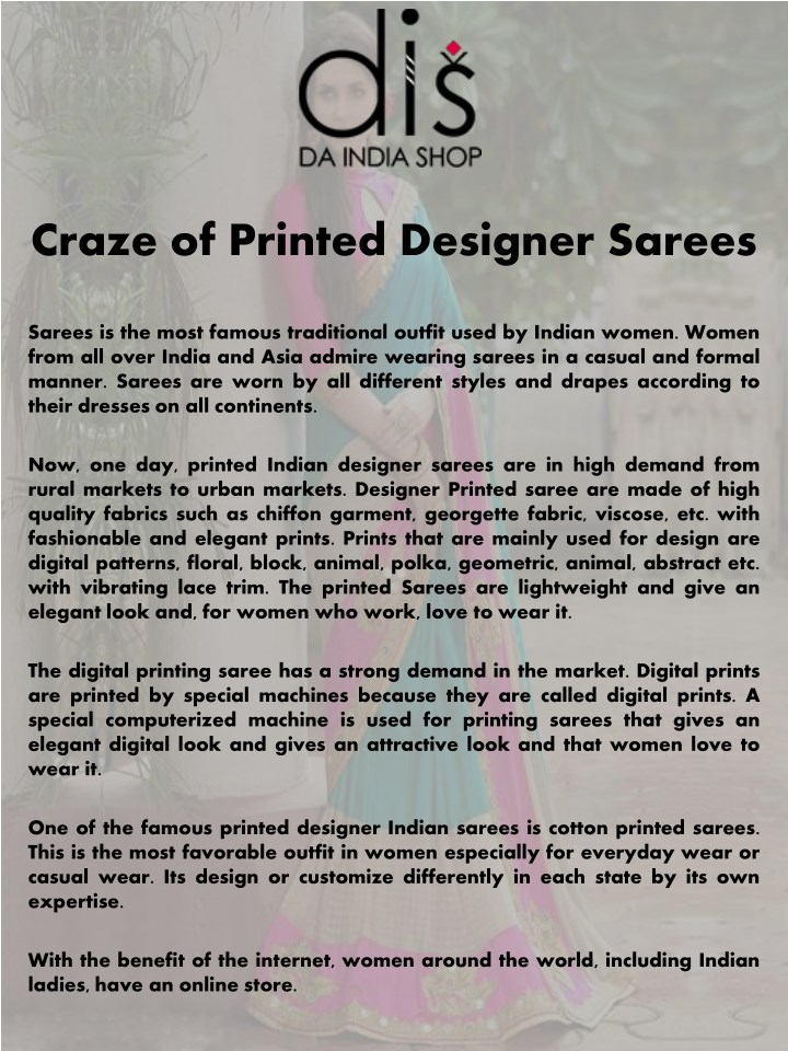 PPT - Craze of Printed Designer Sarees PowerPoint